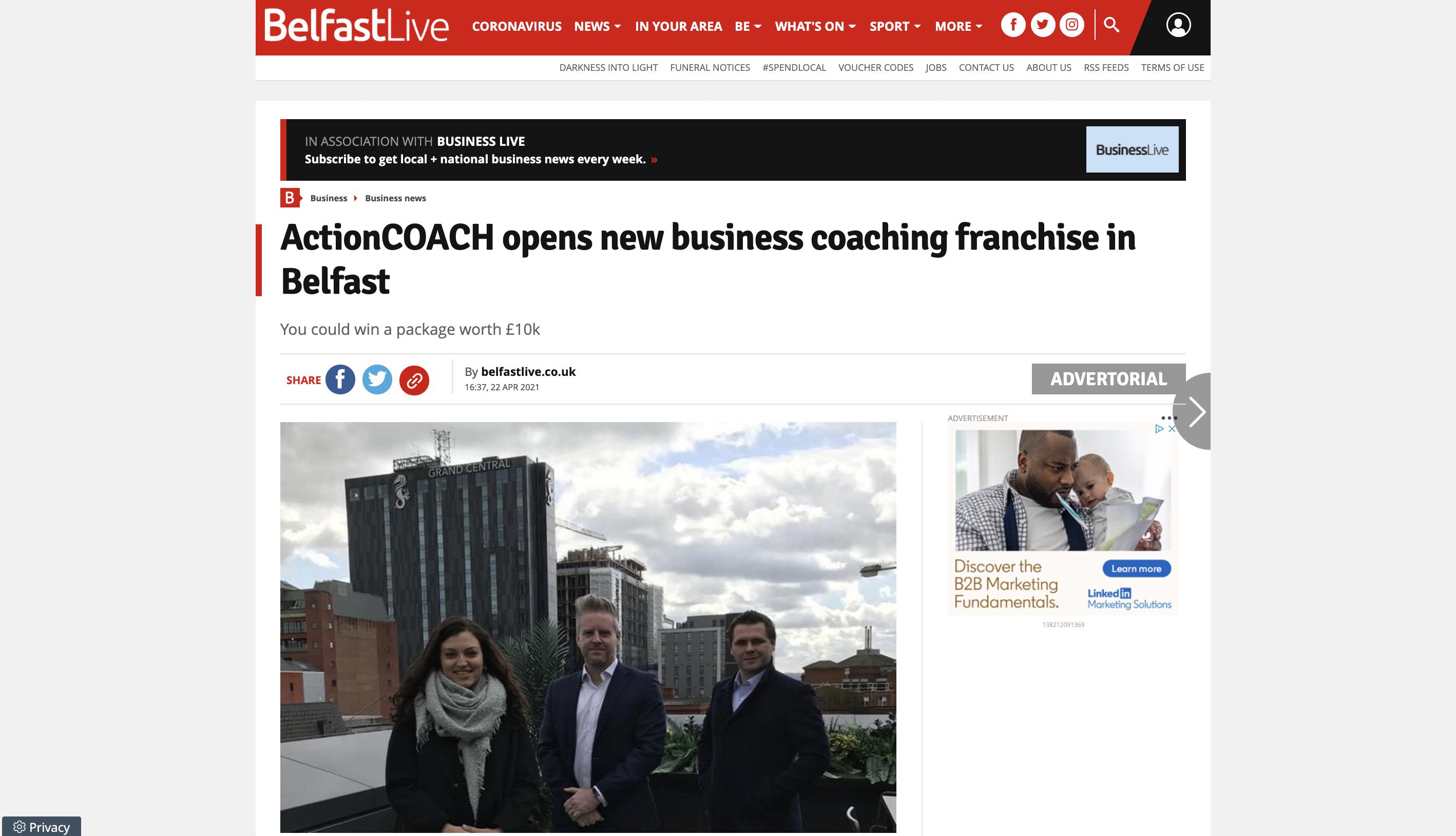 screenshot of actioncoach belfast featured in belfast live